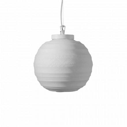 Lámpara de suspensión en vidrio blanco satinado en 2 tamaños de diseño - Morse