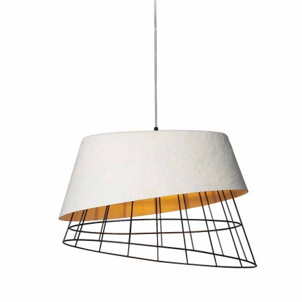 Lámpara de Suspensión en Fibra de Vidrio Blanca y Metal Elegante Diseño - Solar