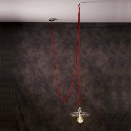 Lámpara de techo moderna con cable de seda rojo Chrome