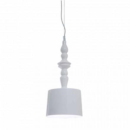 Pantalla para Lámpara de Suspensión Corta en Cerámica Blanca Brillante Diseño - Cadabra