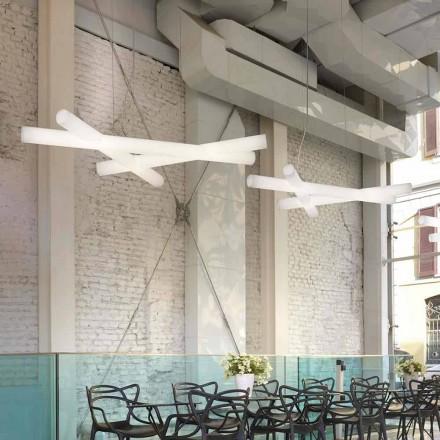 Lámpara colgante de polietileno blanca Slide Mesh, fabricada en Italia