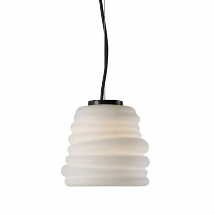 Lámpara de suspensión para sala de estar en vidrio blanco satinado 3 dimensiones - Suave