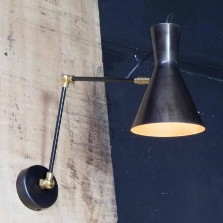 Lámpara artesanal de hierro con pantalla de aluminio Made in Italy - Selina