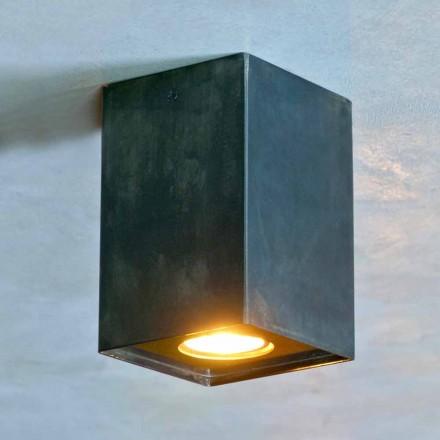 Lámpara cúbica de hierro negro con soldaduras esmeriladas Made in Italy - Cubino