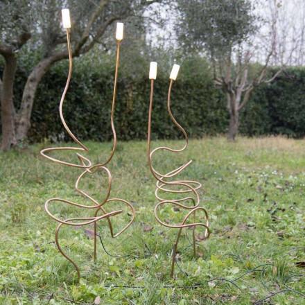 Lámpara de exterior en cobre natural con cristal decorativo Made in Italy - Fusillo