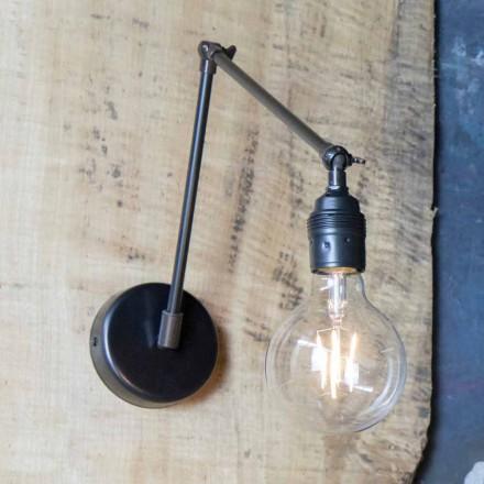 Lámpara de pared hecha a mano en hierro negro ajustable Made in Italy - Ander