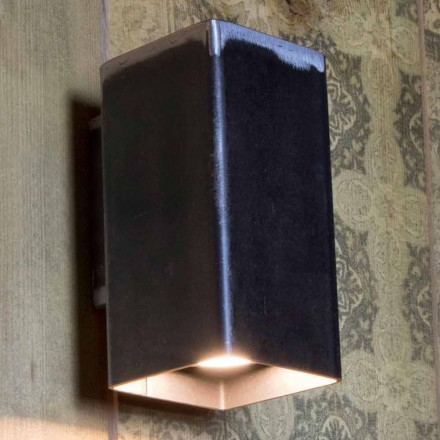 Lámpara de pared cuadrada hecha a mano en hierro negro Made in Italy - Cubino