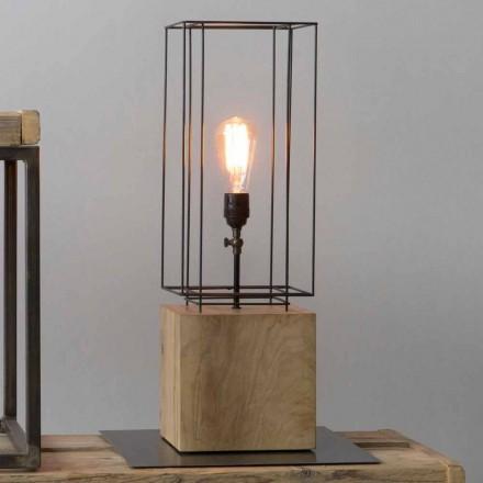 Lámpara de mesa de hierro hecha a mano con base de madera Made in Italy - Olivo