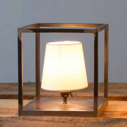 Lámpara de mesa de hierro hecha a mano con pantalla Made in Italy - Cubola
