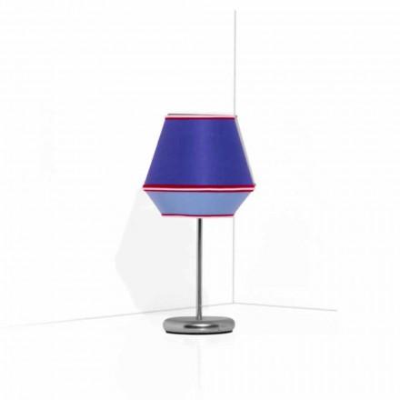 Lámpara de mesa azul con estructura de metal cromado Made in Italy - Soya