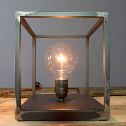 Lámpara de mesa con estructura de hierro artesanal Made in Italy - Cubola
