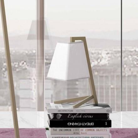 Lámpara de mesa con estructura en metal y tela Made in Italy - Barton