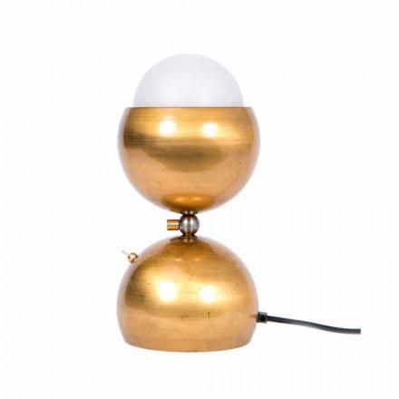 Lámpara de mesa de diseño artesanal en latón y vidrio Made in Italy - Gandia