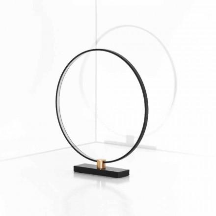 Lámpara de mesa de diseño en aluminio negro y latón Made in Italy - Norma