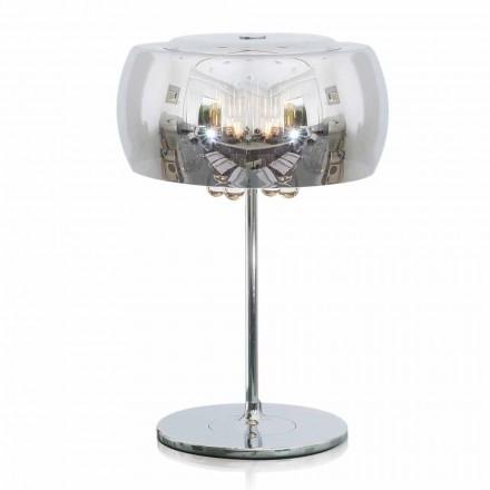 Lámpara de mesa de diseño en vidrio, cristal y metal cromado - Cambria