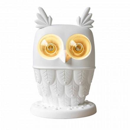 Lámpara de sobremesa en cerámica blanca mate 2 luces de diseño moderno Búho - Búho
