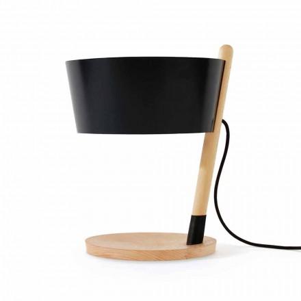 Lámpara de mesa en haya con detalles en metal y cuero vegano - Avetta