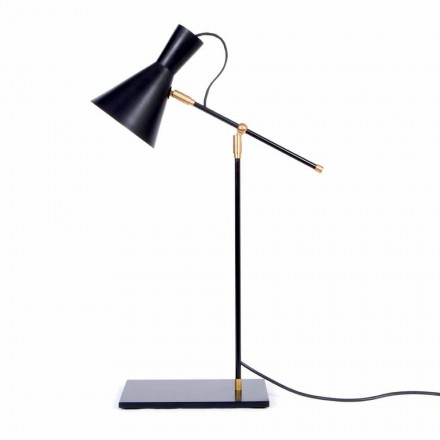 Lámpara de mesa en hierro y aluminio color negro mate Made in Italy - Malita