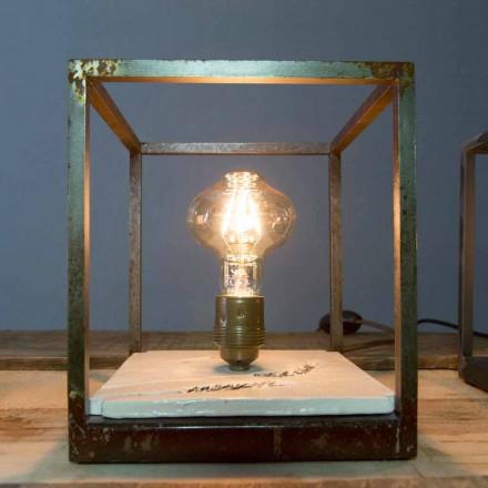 Lámpara de mesa en hierro y cerámica hecha a mano en Italia - Floria