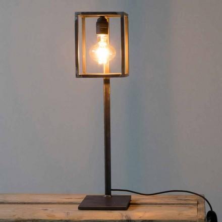 Lámpara de mesa de hierro negro con cable de algodón Made in Italy - Única
