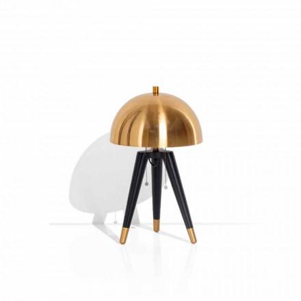 Lámpara de mesa en metal negro y latón cepillado Made in Italy - Peter