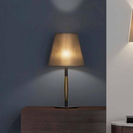 Lámpara de mesa moderna en metal, madera y organza Made in Italy - Boom