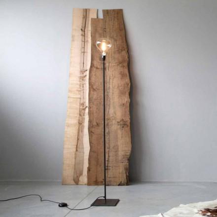 Lámpara de pie artesanal con estructura de hierro negro Made in Italy - Simple