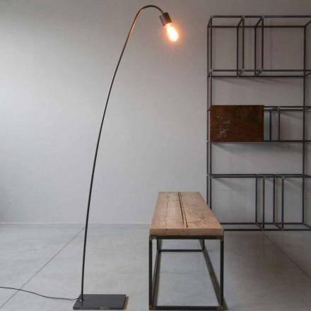 Lámpara de pie de diseño artesanal en hierro negro Made in Italy - Curva
