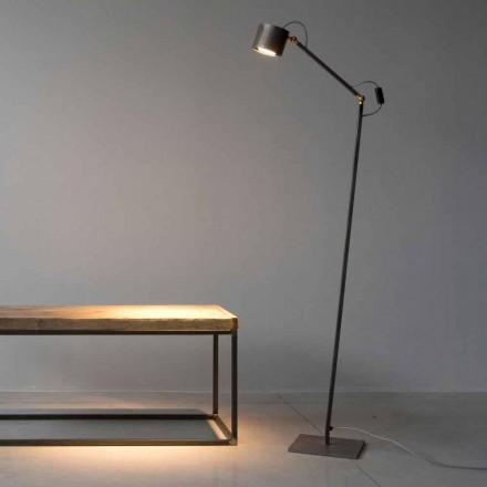 Lámpara de pie hecha a mano de hierro con grabado claro Made in Italy - Vanda