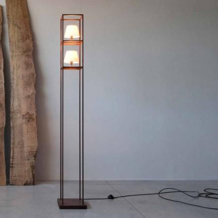 Lámpara de pie de hierro hecha a mano con acabado corten Made in Italy - Tower