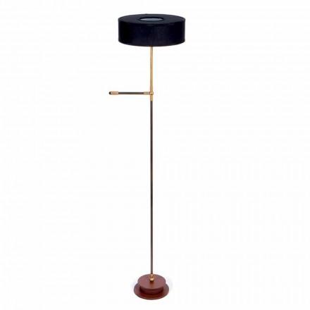 Lámpara de pie con pantalla de lino negro hecha a mano Made in Italy - Aurelia