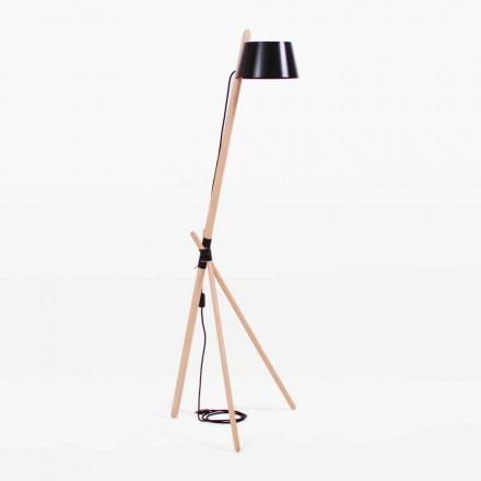 Lámpara de pie de diseño en madera de haya y metal lacado - Avetta