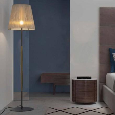 Lámpara de pie de diseño en metal, madera y organza Made in Italy - Boom