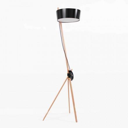 Lámpara de pie en madera y metal con detalles en piel vegana - Avetta