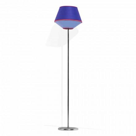 Lámpara de pie en metal cromado con pantalla de tela Made in Italy - Soya