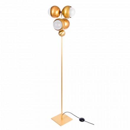 Lámpara de pie artesanal moderna de latón y vidrio Made in Italy - Gandia