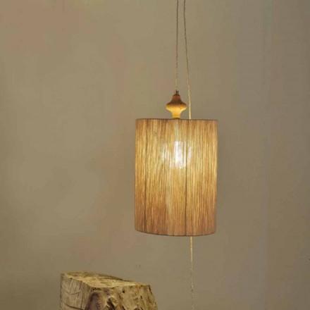 Lámpara de suspensión/pie de madera y lana color arena Bois