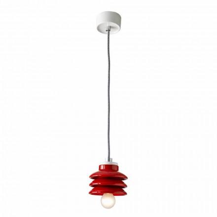 Lámpara colgante de diseño en cerámica roja hecha en Italia Asia