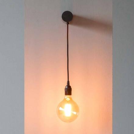 Lámpara de diseño en hierro negro con cable de algodón Made in Italy - Cladia