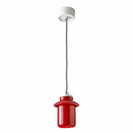 Lámpara de diseño suspendida en cerámica roja hecha en Italia Asia.