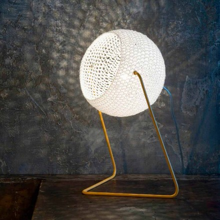 Lámpara de mesa moderna In-es.artdesign Hecho a mano de algodón T1 textura