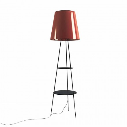 Lámpara de pie en metal negro y cobre con toma USB Made in Italy - Dixie