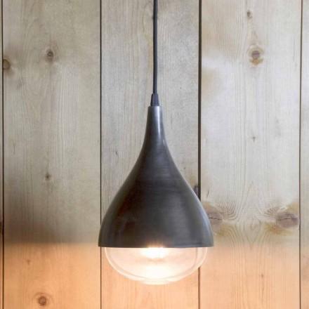 Lámpara colgante artesanal en aluminio y algodón negro Made in Italy - Sissa