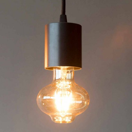 Lámpara colgante artesanal de hierro con cable de algodón Made in Italy - Frana
