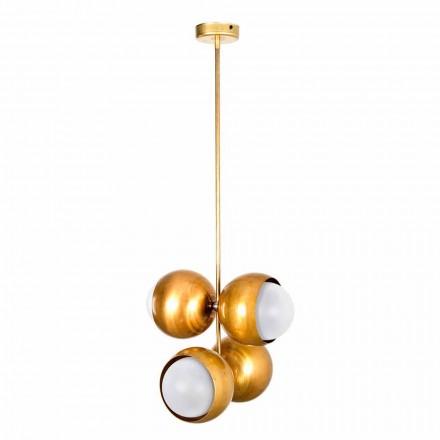 Lámpara colgante artesanal en latón natural y vidrio Made in Italy - Gandia