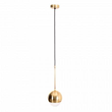 Lámpara colgante hecha a mano en latón y vidrio decorativo Made in Italy - Gandia