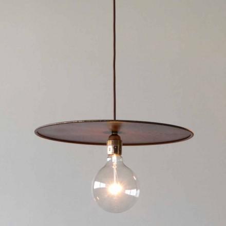 Lámpara suspendida de hierro con cordón de algodón artesanal Made in Italy - Ufo