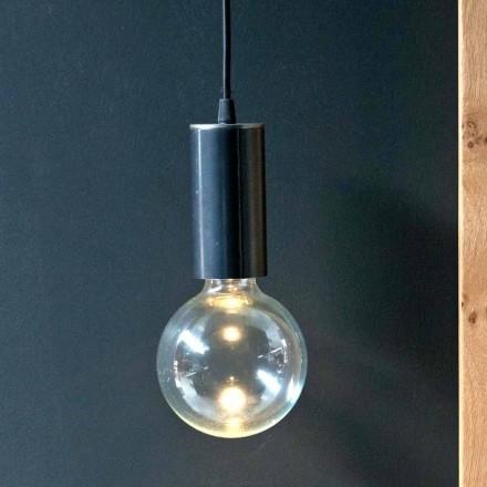 Lámpara colgante de hierro y vidrio con cable de algodón Made in Italy - Ampolla
