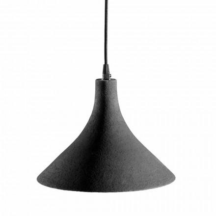 Lámpara de suspensión en gres antracita e interior blanco de diseño moderno - Edmondo