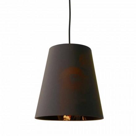 Lámpara Suspendida en Lino Antracita con Impresión de Diseño Interno 2 Tamaños - Bramosia